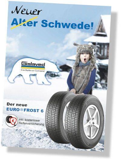 Рекламный плакат новых зимних шин Gislaved