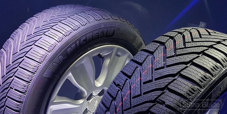 Изношенные и новые шины Michelin Alpin 6
