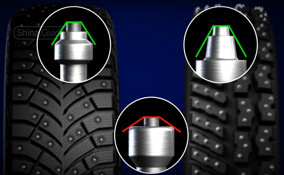 Форма шипов Michelin XIN4 в сравнении с раллийными шипами и шипами шин XIN3